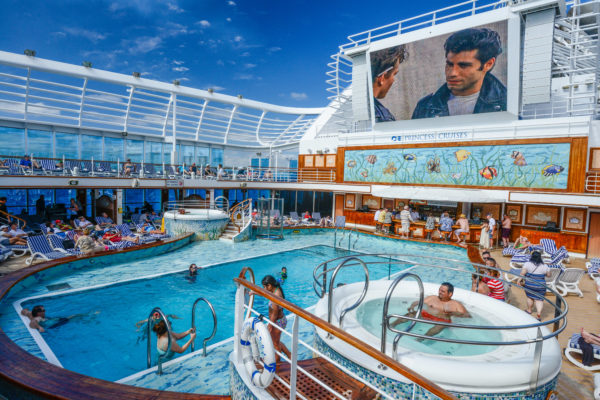 300-square-foot LED poolside screen playing Grease on our first day at sea