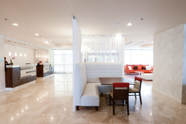 Hotel lobby: a clean, simple design with a contemporary flare