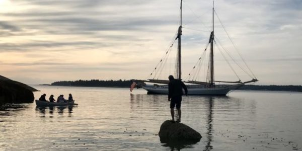 Sunset and the schooner Mary Day