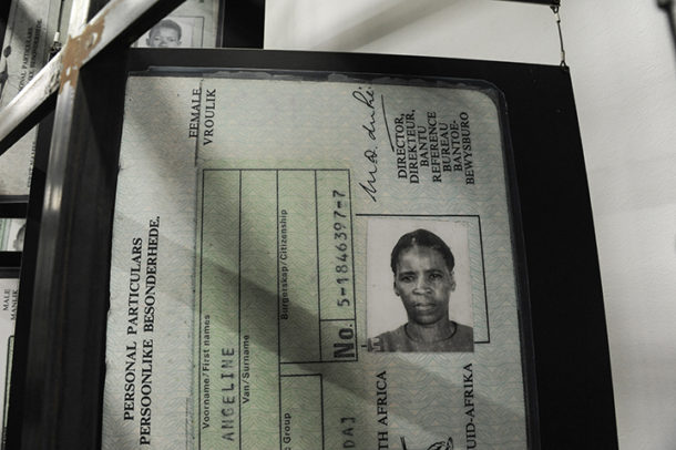 Apartheid passbook at the entrance to the Apartheid Museum