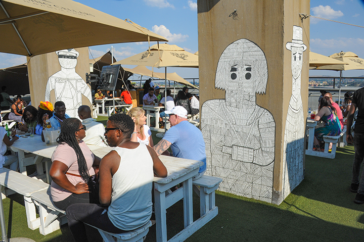 Rooftop bar at 12 Decades Hotel in Maboneng