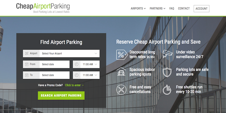 This website helps you find cheap parking at the airport