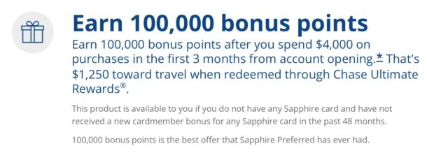The Sapphire Preferred 100k offer is worth up to $1,250 in award travel. Credit: Chase